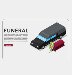 funeral service isometric poster or web vector image