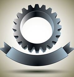Gear emblem with blank banner vector
