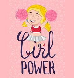 Girl power kids postcard template vector