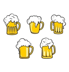 Glass beer tankards vector image