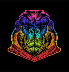 gorilla hoodie colorful vector image