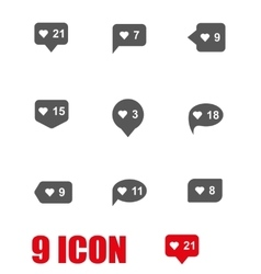 Grey like counter icon set vector