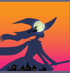 Halloween witch flies on broomstick full moon vector