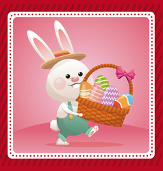 Happy easter card bunny carrying egg celebration vector