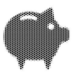 Hexagon halftone piggy bank icon vector