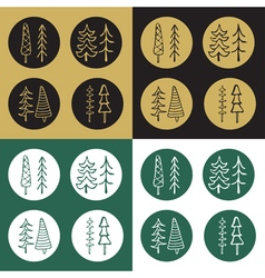 Icons Set of cartoon fir tree stickers vector image