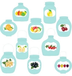 Jars set label with fruits and berries vector