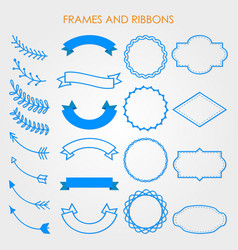 label frame ribbon pattern banner tag vector image