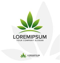 leaf crown logo landscaping leaf nature logo vector image