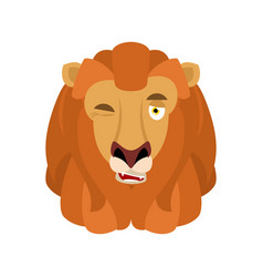 lion winks emoji avatar face wild animal happy vector image