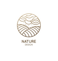 Logo nature in linear style outline vector