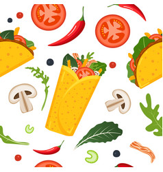 mexican food seamless pattern burrito taco hot vector image