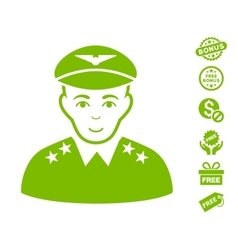 Military Pilot Officer Icon With Free Bonus vector