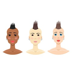 Mohawk hairstyle girl set vector image