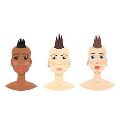 Mohawk hairstyle girl set vector