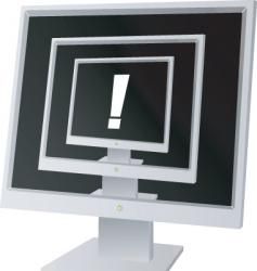 monitor exclamation vector image