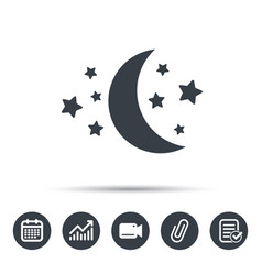 moon and stars icon night sleep sign vector image