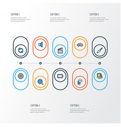 multimedia colorful outline icons set collection vector image