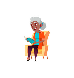 Old african lady sitting on armchair and reading vector