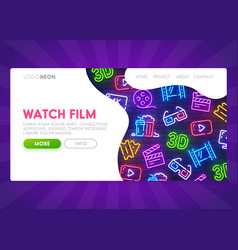 online cinema landing page mock up website vector image