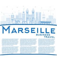 Outline marseille france city skyline with blue vector