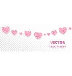 pink hearts frame seamless border glitter vector image