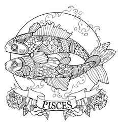 Pisces zodiac sign coloring book vector