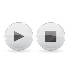 play and stop white glass 3d buttons vector image