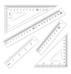 Ruler and triangles centimeter and inch vector