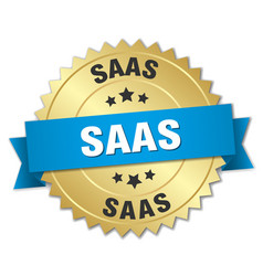 Saas round isolated gold badge vector