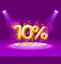 Sale 10 off ballon number on purple background vector