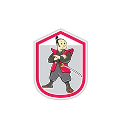 Samurai Warrior Arms Folded Shield Cartoon vector