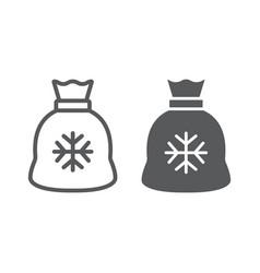 santa bag line and glyph icon christmas holiday vector image