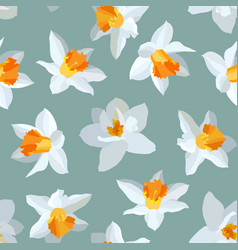 Seamless pattern narcissus vector