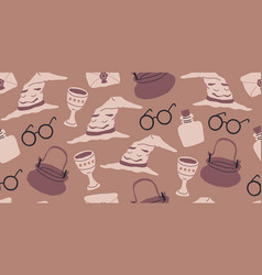 seamless pattern with magician objects vector image