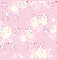seamless pattern with swans vector image