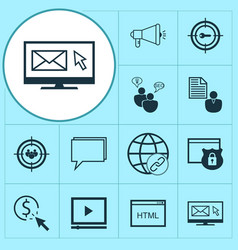 Seo icons set with video advertising client brief vector