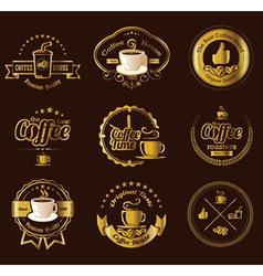 Set vintage retro coffee labels vector