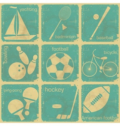 set vintage sport separate labels vector image