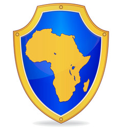 Shield with silhouette of africa vector