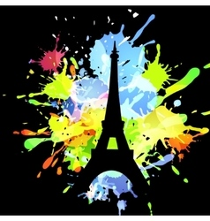 Silhouette of eiffel tower on inkblot background vector