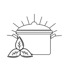 silhouette organ food with pot kitchen and leaves vector image