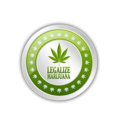 Silver legalize marijuana hemp cannabis sativa or vector