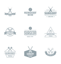 Surgical procedure logo set simple style vector