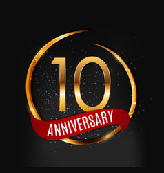 Template gold logo 10 years anniversary with red vector