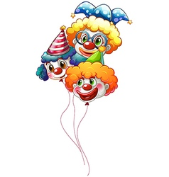 Three colourful clown balloons vector image