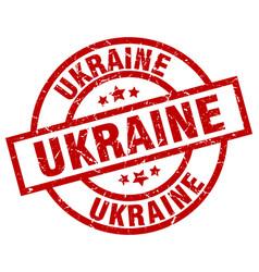 Ukraine red round grunge stamp vector