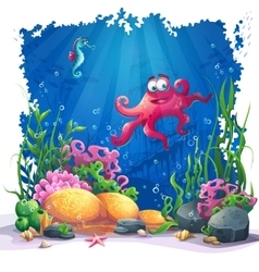 Underwater octopus coral and colorful reefs and vector
