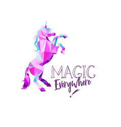 unicorn in geometric low poly style hand vector image