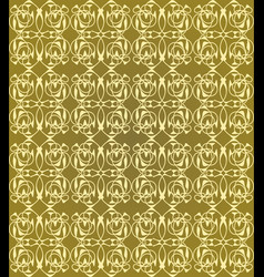 vintage seamless patterns on golden background vector image